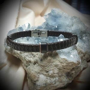Leather and Stainless Steel Cuff